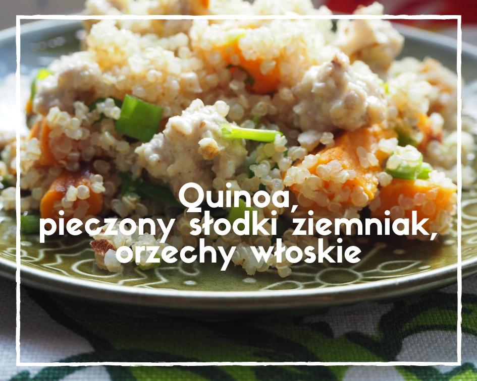 Sałatka z quinoa, pieczonym słodkim ziemniakiem i orzechami włoskimi